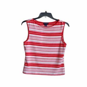 Ann Taylor Sleeveless Top Size Medium Red White